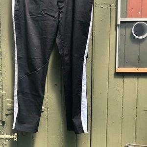Men's ASOS black pants with white side stripe